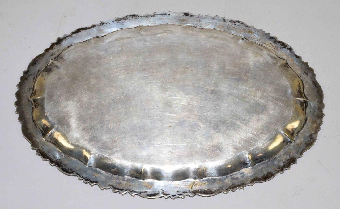 800 SILVER RETICULATED OVAL TRAY. Engraved MLH. 11''L x - 4