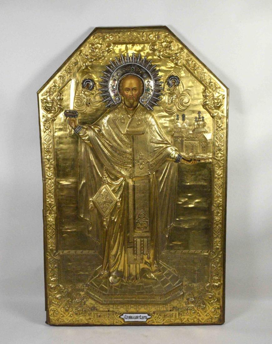LARGE 19TH C. RUSSIAN ICON St. Nicholas Mozhaysk. Gold