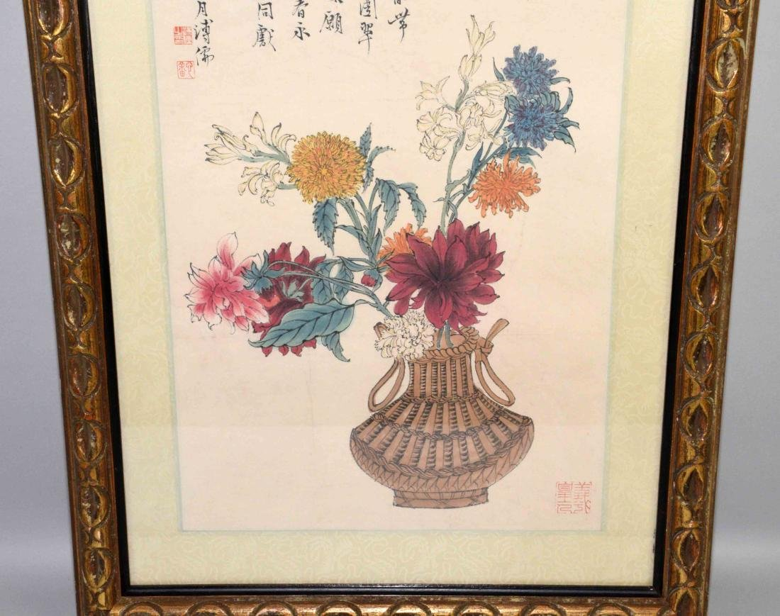 CHINESE HAND PAINTED SCROLL/WATERCOLOR, framed under - 3