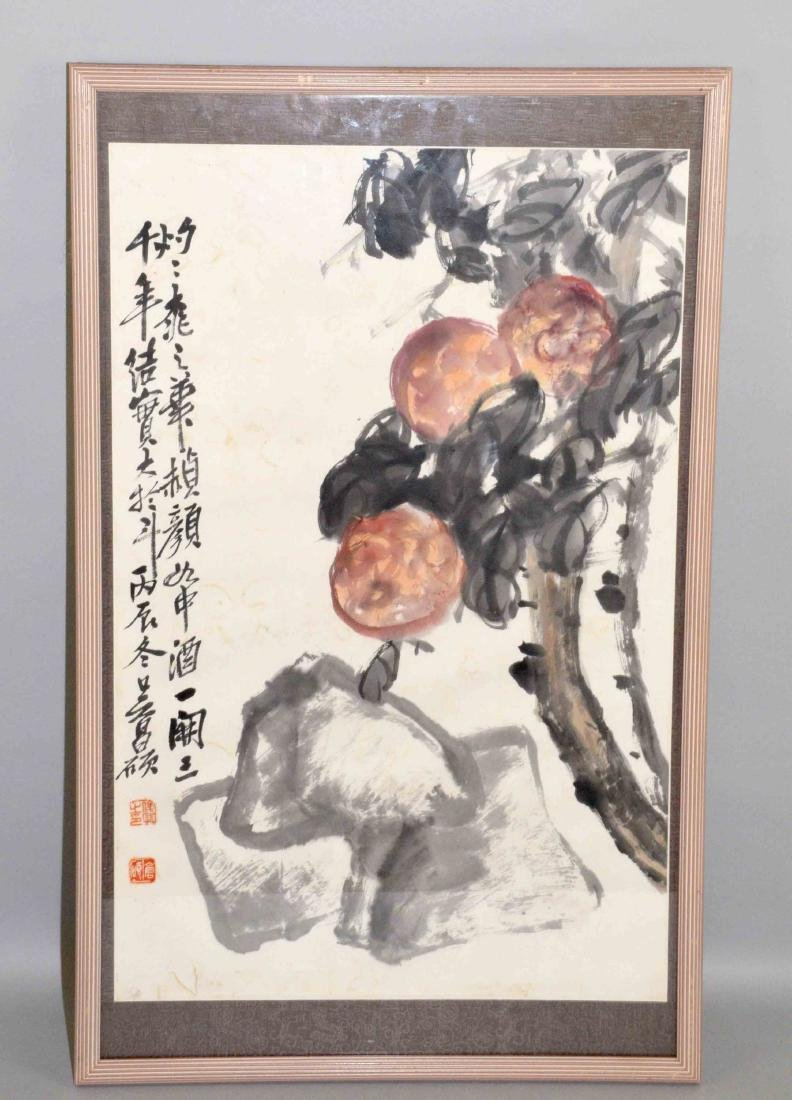 CHINESE WATERCOLOR OF PEACHES, framed under glass.