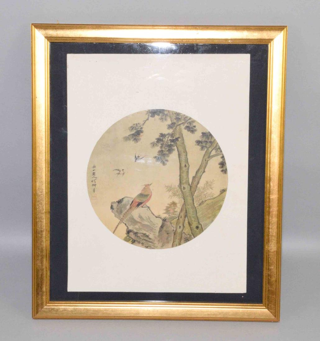 (1) CHINESE PRINT OF A ROUND FAN  PAINTING. Framed