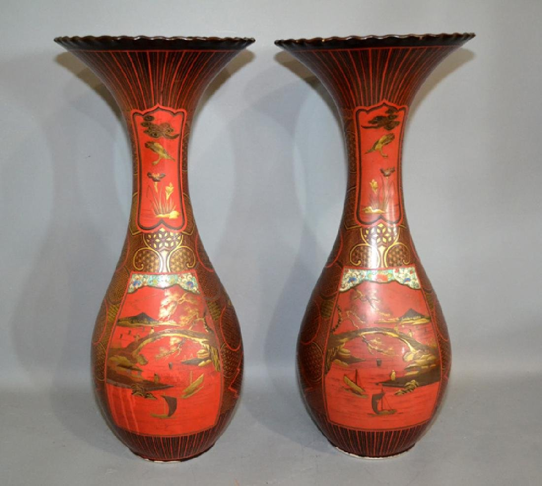 PAIR OF ANTIQUE CHINESE VASES - Mirror Images; Red
