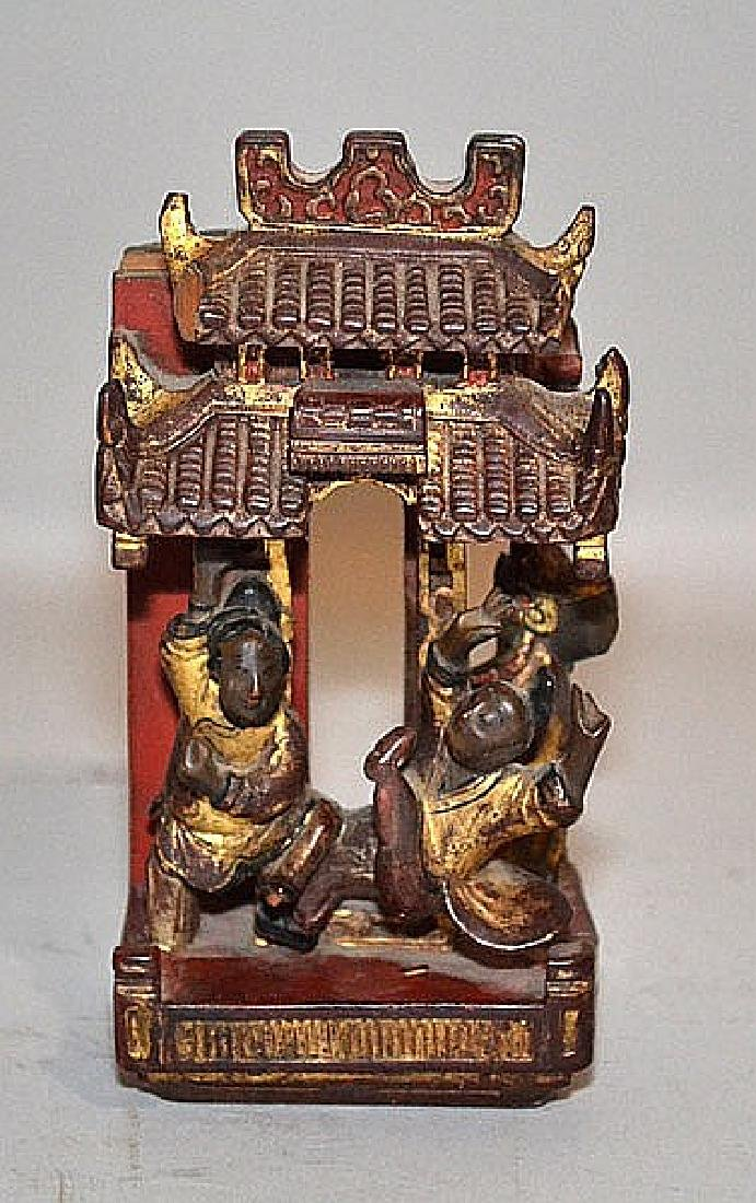 CHINESE CARVED WOOD SHRINE   Chinese Carved Wood