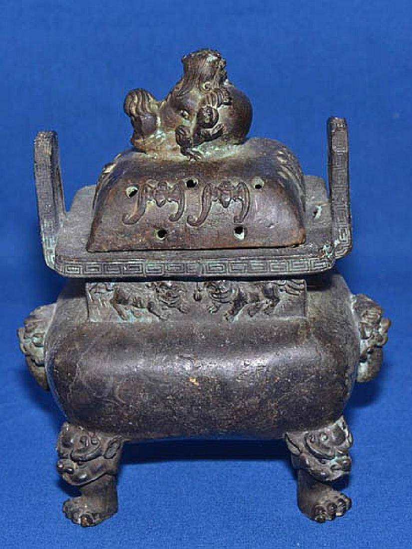 CHINESE INCENSE BURNER  Bronze Lidded Chinese Incense