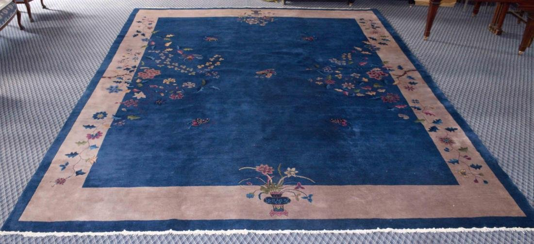 ANTIQUE CHINESE RUG IN BLUE COLOR, circa 1920-1930.