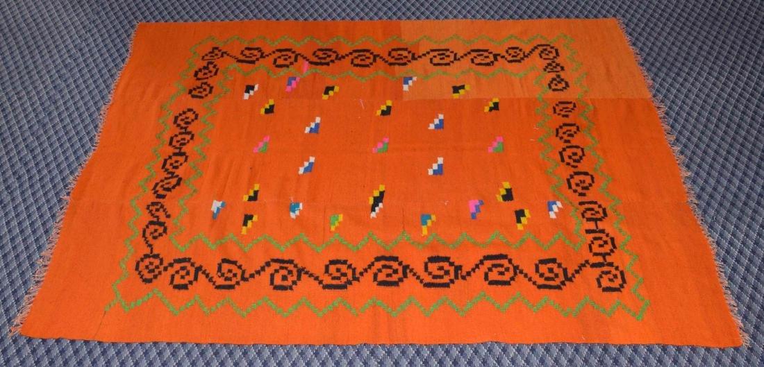 HANDMADE GREEK KILIM RUG, in color orange. 7'8''H x