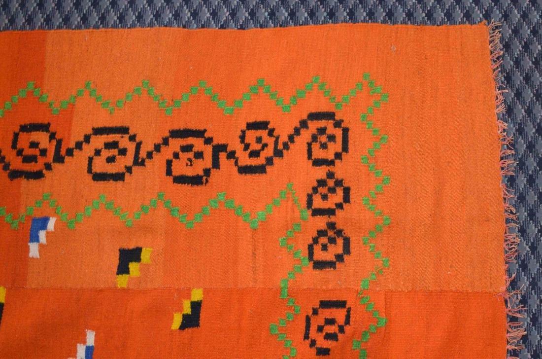 HANDMADE GREEK KILIM RUG, in color orange. 7'8''H x - 3
