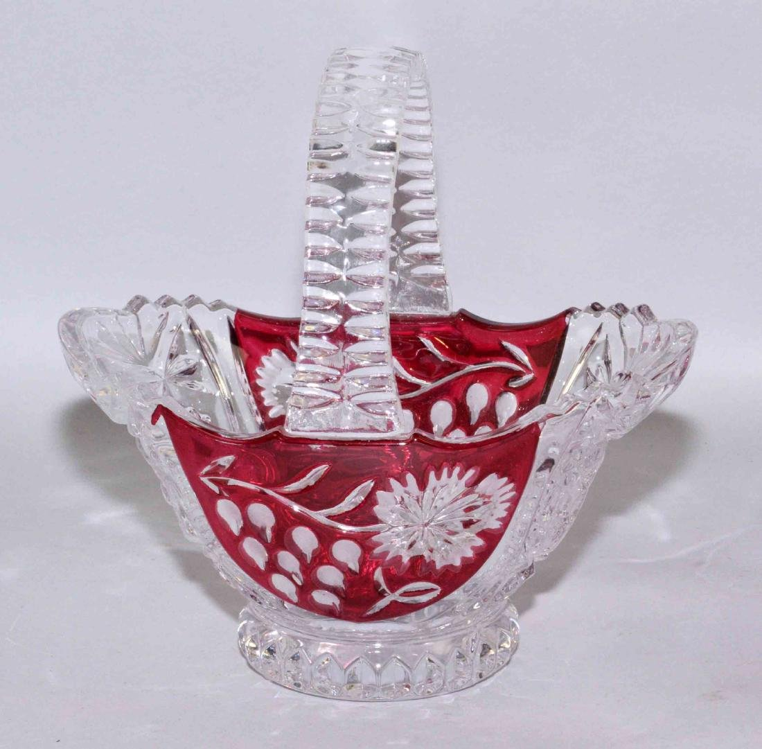 PRESSED GLASS AND CRANBERRY BASKET. 7.5''H x 7.25''W., - 2