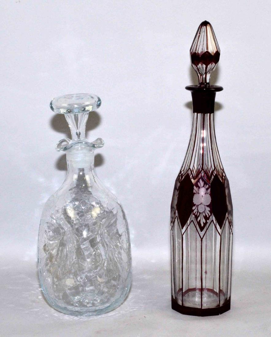 (2) DECANTERS. Hand blown crackle decanter. Bohemian