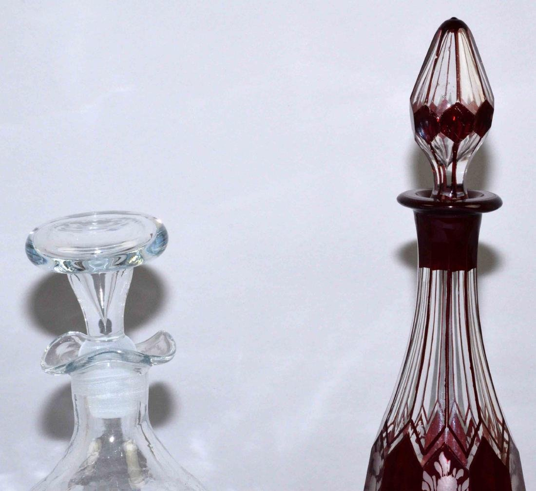 (2) DECANTERS. Hand blown crackle decanter. Bohemian - 3