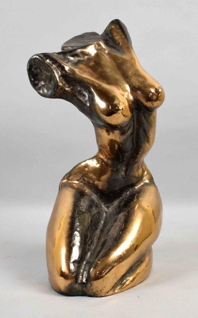 YVES LOHE (1947), Nude woman kneeling bronze. Signed