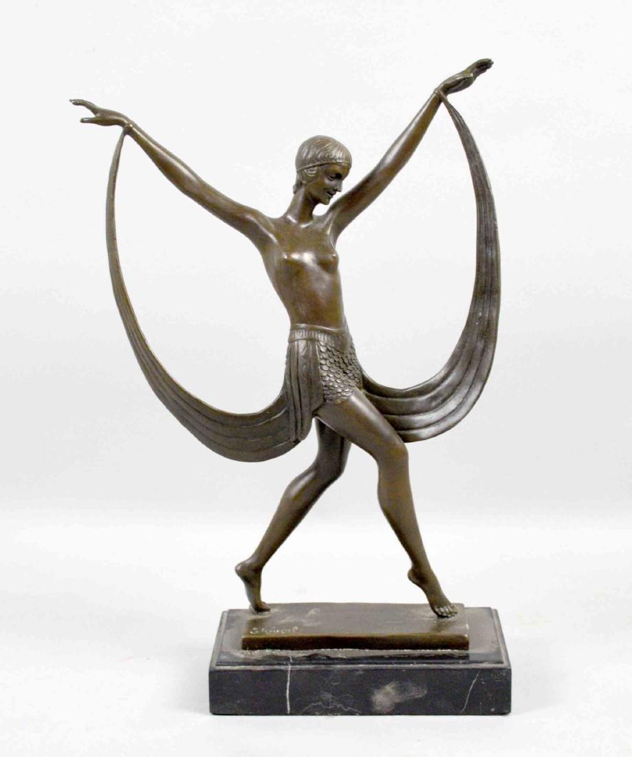 ART DECO NUDE DANCER BRONZE. Signed Fayral. 14.25''H.