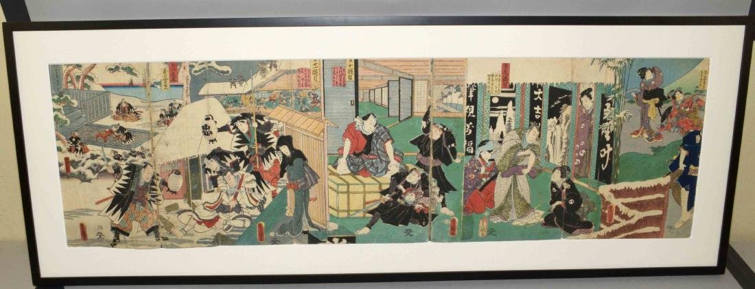 TOYOKUNI III WOODBLOCK TRIPTYCH. Condition: Some tears