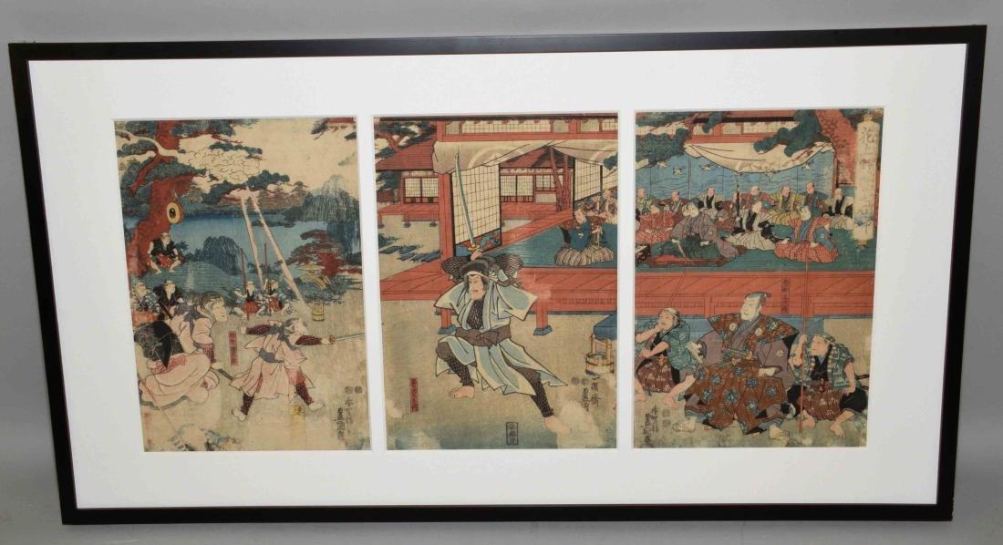 TOYOKUNI III, WOODBLOCK TRIPTYCH. Circa 1847-53,