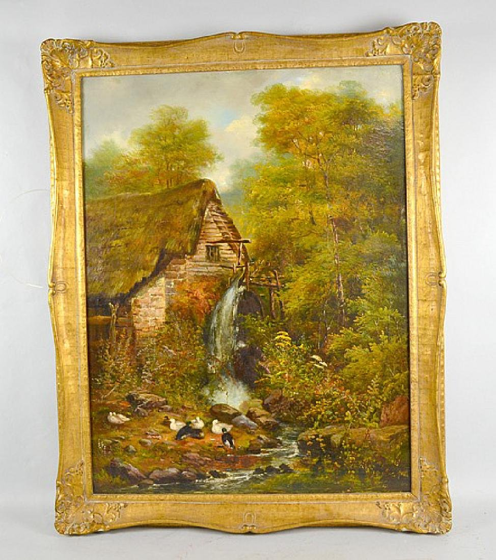 W WIDGERY  - Cottage in woods, oil on canvas, Signed: