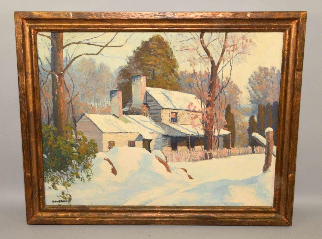 ROBERT E. MOTLEY (American 1887-1962) House in winter,