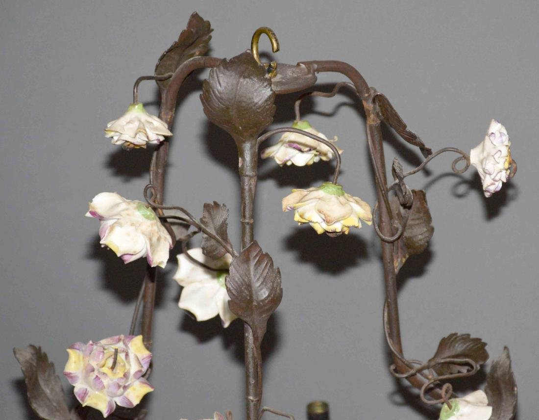 ANTIQUE HANGING METAL AND CERAMIC FLOWER CHANDELIER. - 3
