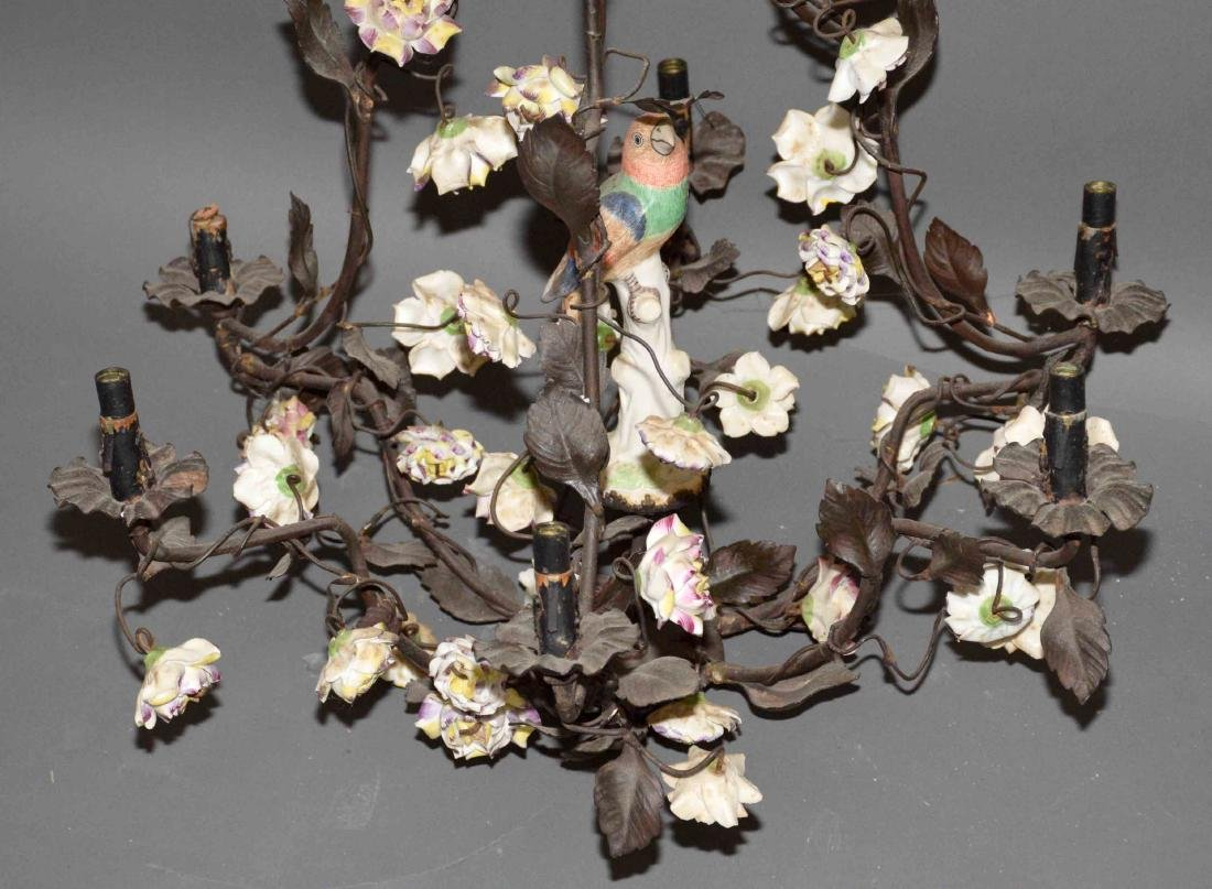 ANTIQUE HANGING METAL AND CERAMIC FLOWER CHANDELIER. - 4