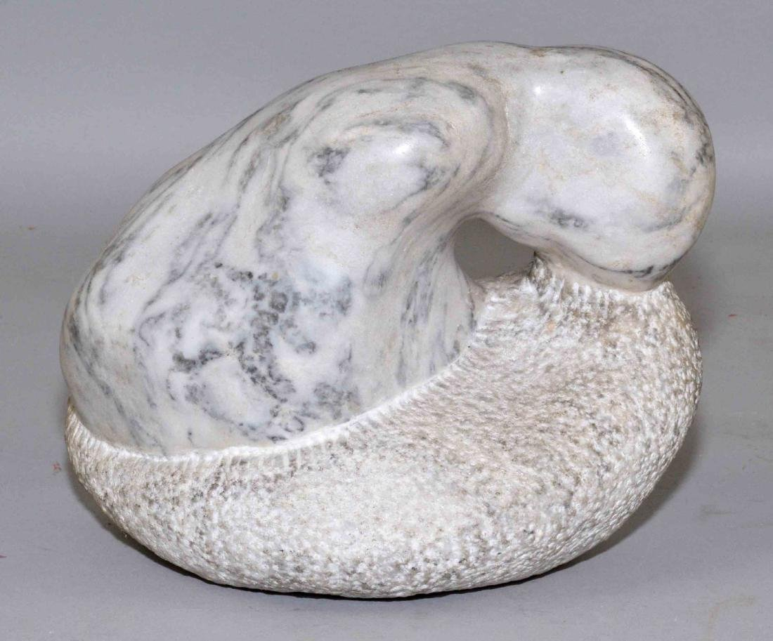ABSTRACT MARBLE SCULPTURE. 6.5''H x 8''L x 5''W.