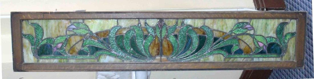 STAINED GLASS TRANSOM WINDOW. 16''H x 78''L.