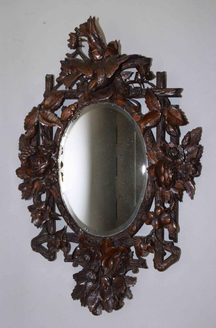EXQUISITELY CARVED BLACK FOREST MIRROR, bird, bird