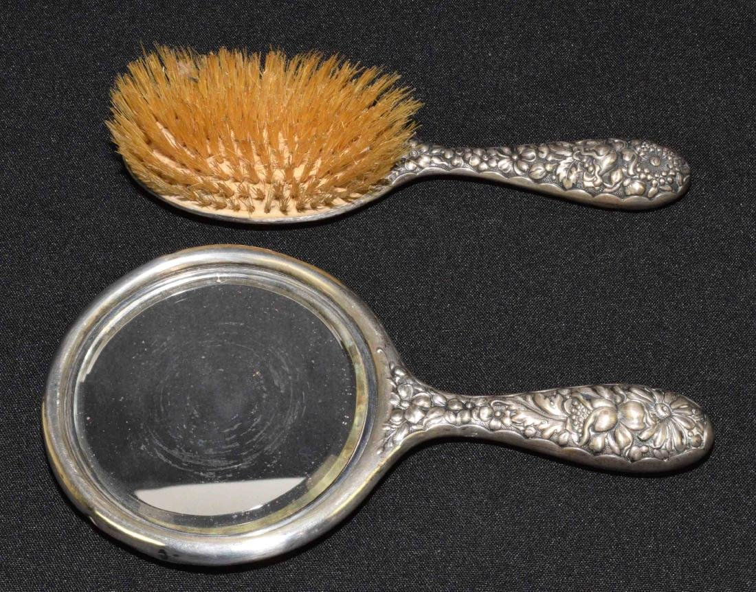 STERLING BRUSH AND HAND MIRROR. 9''H.