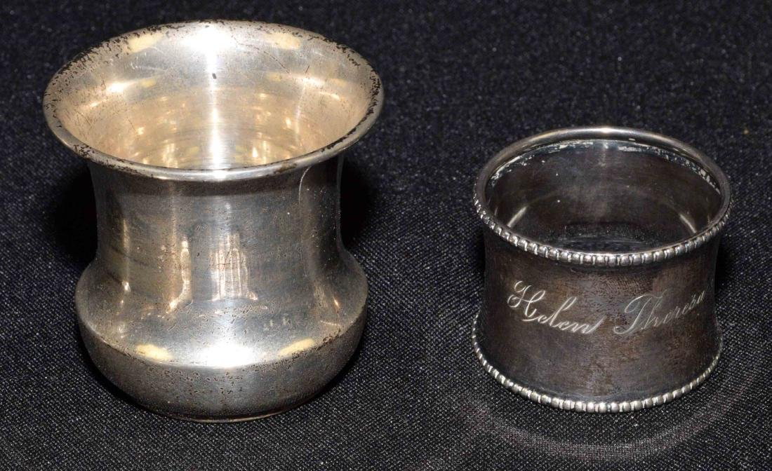 COLLECTION OF STERLING including salts, napkin ring, - 2