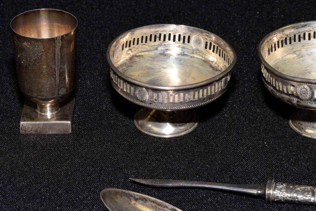 COLLECTION OF STERLING including salts, napkin ring, - 3