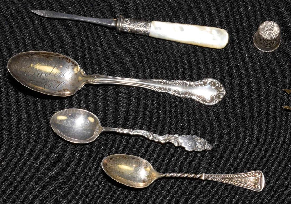 COLLECTION OF STERLING including salts, napkin ring, - 4