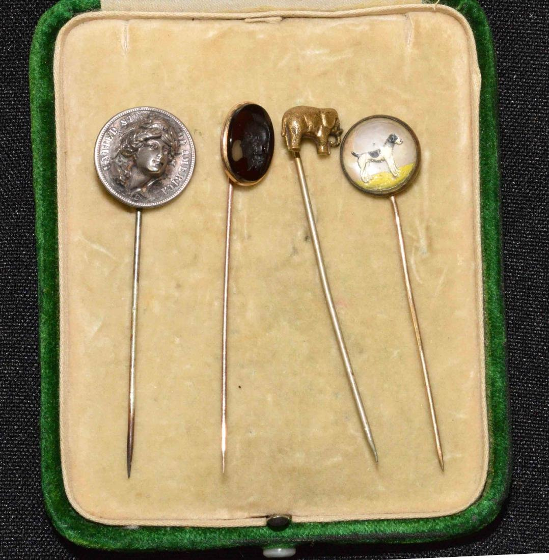 ANTIQUE HAT PIN  COLLECTION including dog, elephant,