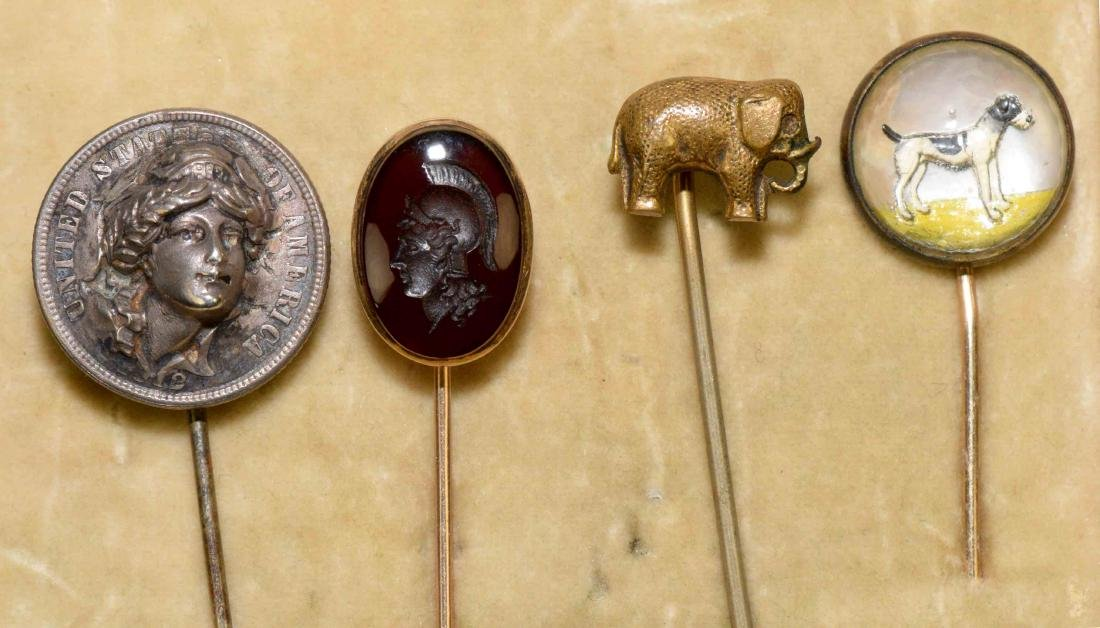 ANTIQUE HAT PIN  COLLECTION including dog, elephant, - 2