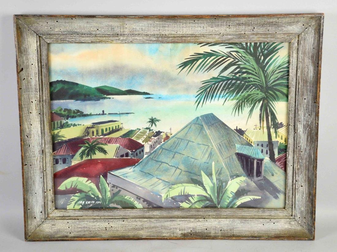 IRA SMITH, TROPICAL SEAPORT WATERCOLOR. Image: 14''H x