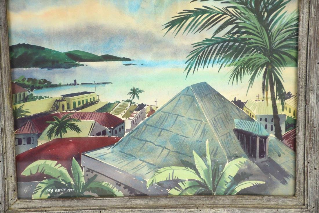 IRA SMITH, TROPICAL SEAPORT WATERCOLOR. Image: 14''H x - 2