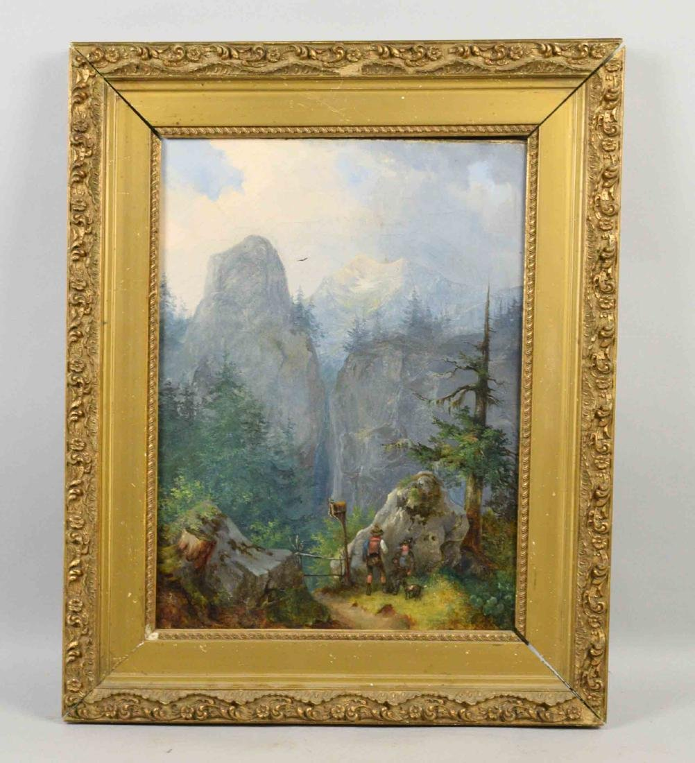 OIL ON CANVAS, Mountain Traveling Scene, signed