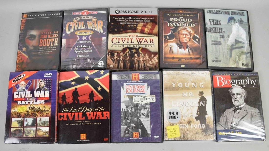 CIVIL WAR DVD COLLECTION including many unopened DVDs.