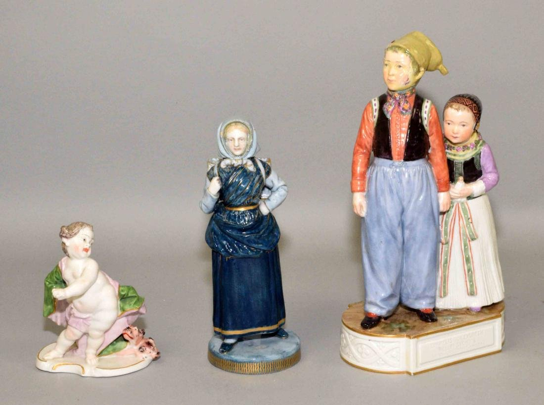 (3) PORCELAIN FIGURINES, Bing and Grondahl lady 6.5''H,