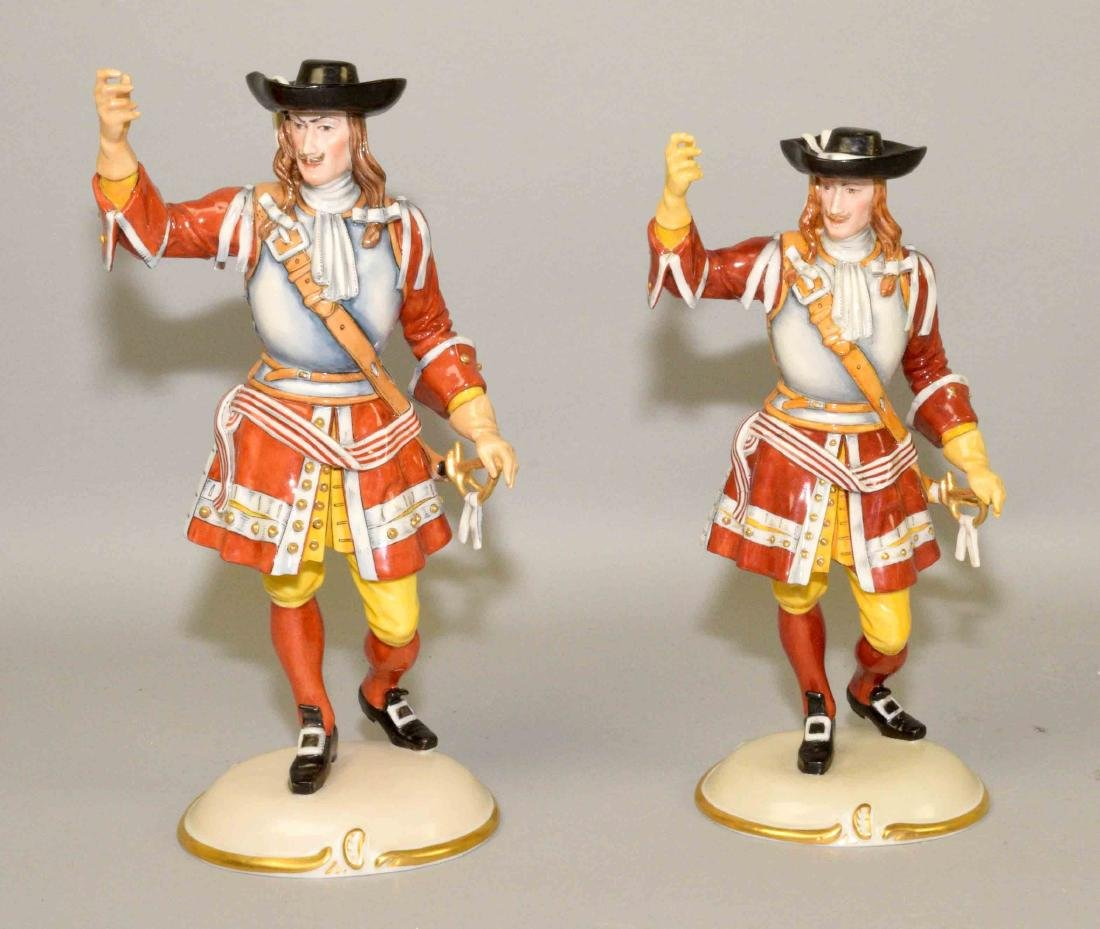 A PAIR OF NYMPHENBURG PORCELAIN CAVALIERS, smaller 9''H