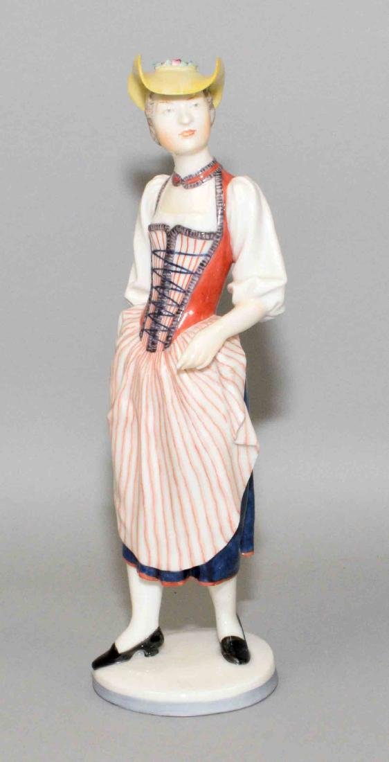 NYMPHENBURG PORCELAIN FIGURINE OF A LADY, 8''H.