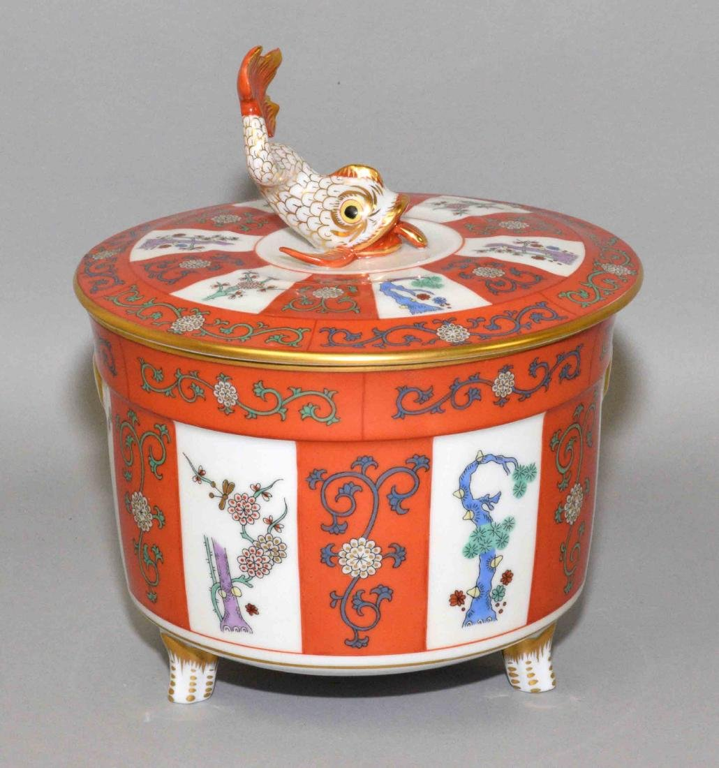 HEREND HAND PAINTED LIDDED PORCELAIN VESSEL with