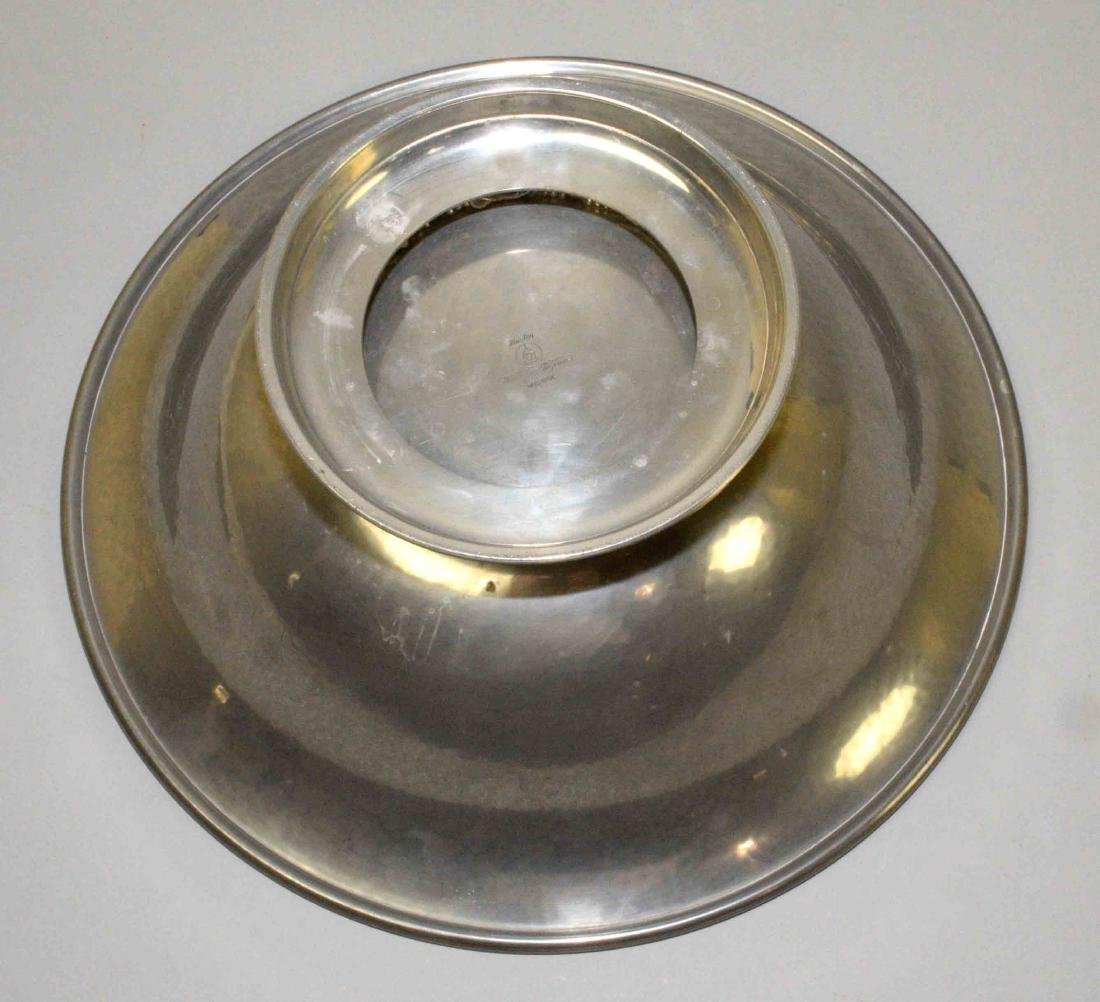 HAND MADE PEWTER CENTER BOWL, signed Shirley - 4