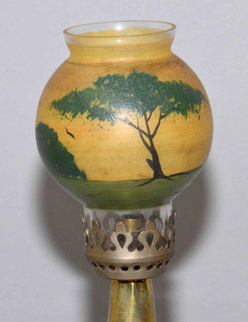 FRENCH MINIATURE OIL LAMP with painted shade, 9.5''H. - 2