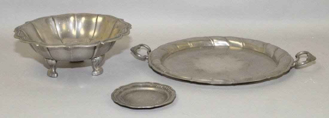 COLLECTION OF ANTIQUE PEWTER, (3) pieces all signed,