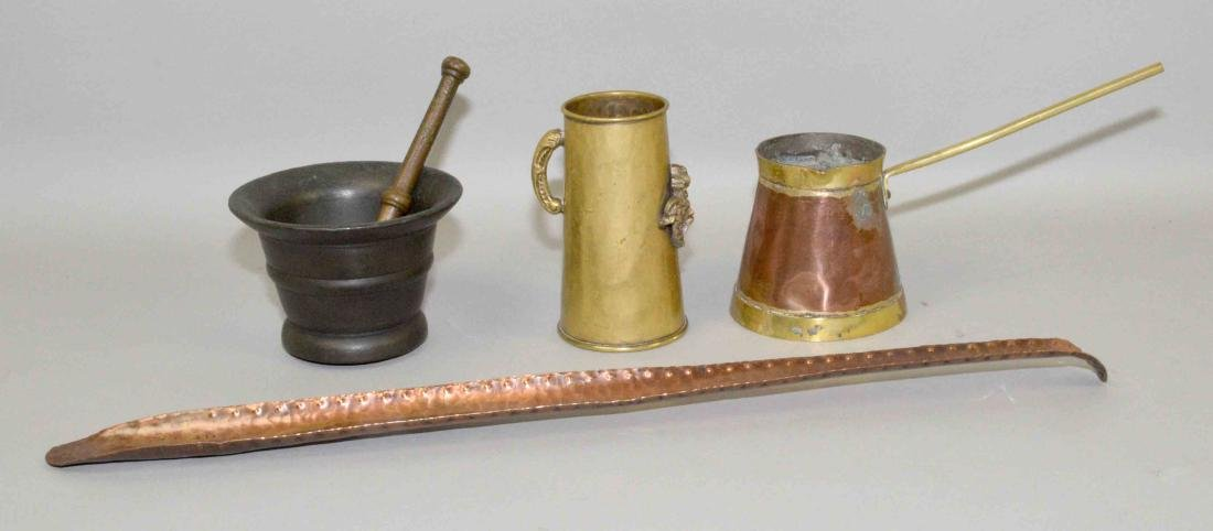 COLLECTION OF METAL ITEMS including mortar and pestle,
