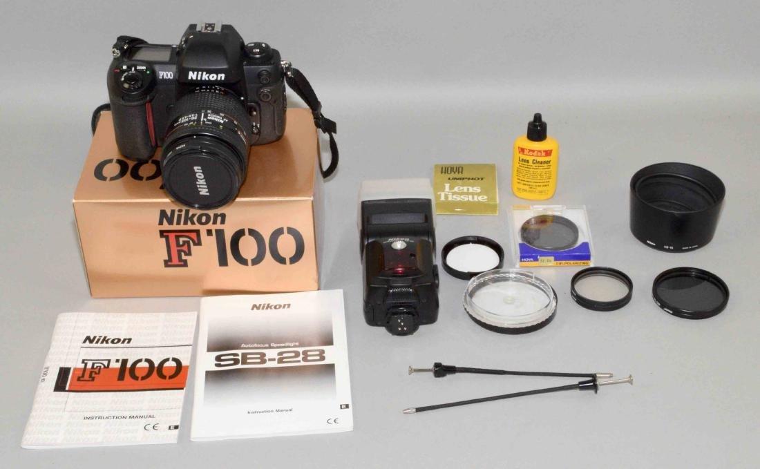NIKON F-100 CAMERA and misc. camera equipment and