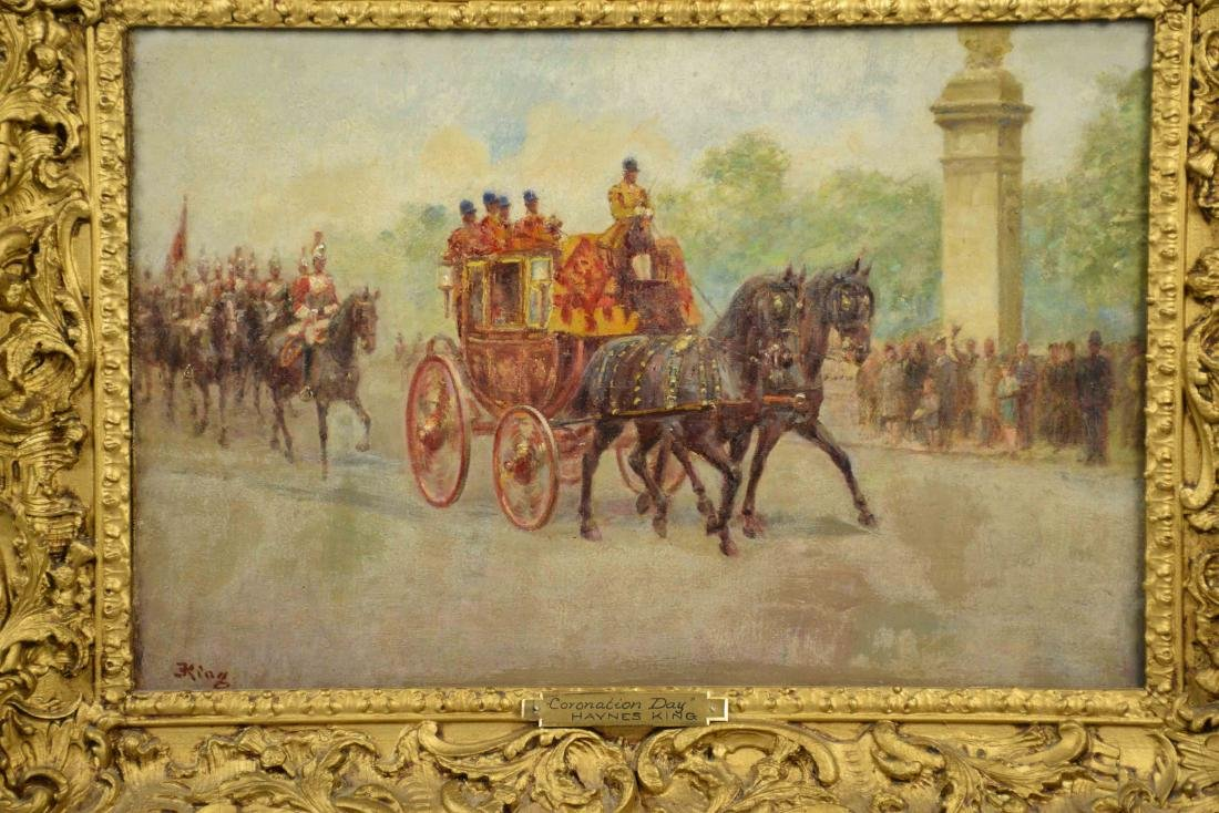 HAYNES KING, ''CORONATION DAY'', oil on canvas. 12''H x