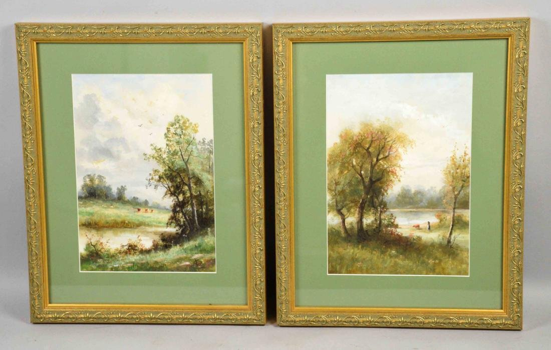 PAIR OF WATERCOLORS BY LOUIS J. CRUISE, Bedford, PA.