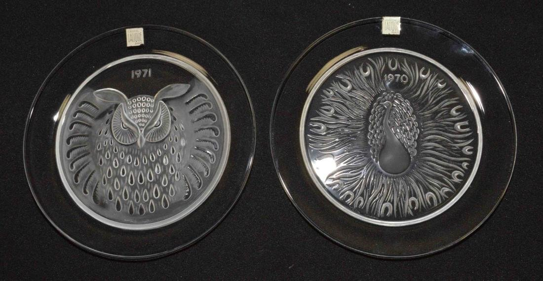 PAIR OF LALIQUE PLATES, dated 1970 and 1971. 8.25''
