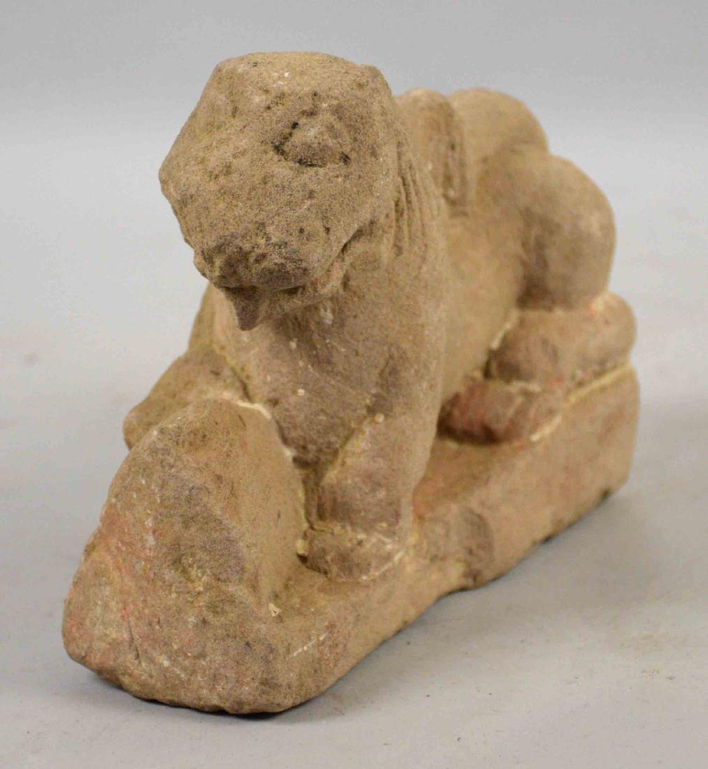 INDIAN HINDU LION TEMPLE FRAGMENT. 5.75''H x 7''W. - 2