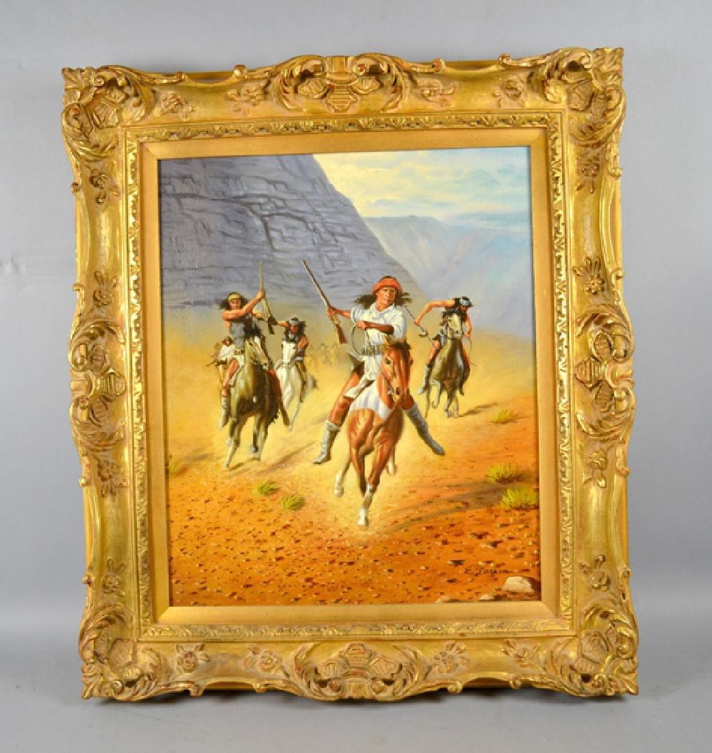 WESTERN ART ''LAST FIGHTING APACHE'' OIL ON CANVAS -