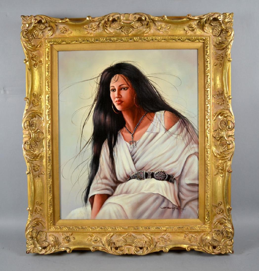WESTERN ART PORTRAIT OF A WOMAN OIL ON BOARD - Portrait